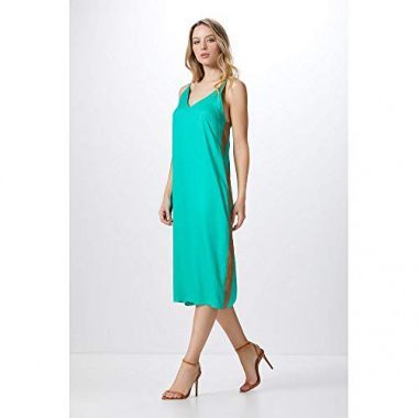 Vestido Alça Midi Block Color-Green Emerald - M