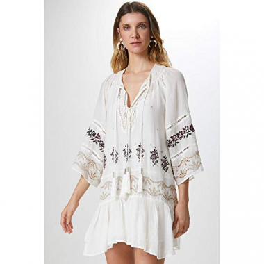 Vestido Amplo Bordado-Off White - P
