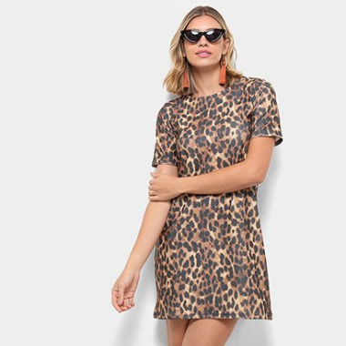 Vestido Flora Zuu Dress T-Shirt Animal Print Onça-Feminino