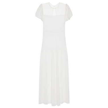 Vestido Georgette Point Calixta - Branco