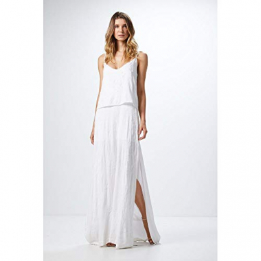 Vestido Longo Fendas-Off White - P