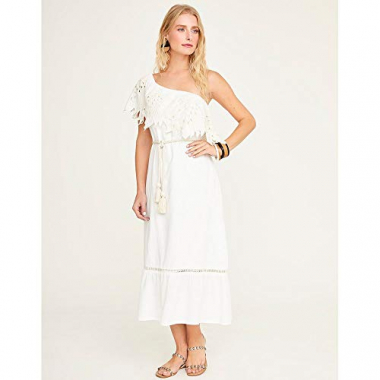 Vestido Midi Bordado-Off White-Gg