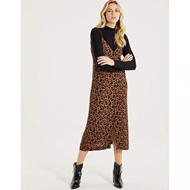Vestido Midi Crepe Viscose Animal Print-Estampado-46
