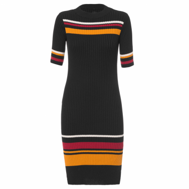 Vestido Mídi Stripes Knit - Preto