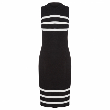Vestido Sleeveless Knit Stripe - Preto