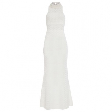 Vestido Tricot Longo Decote Bordado Animale - Off White