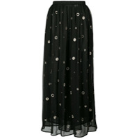Vince Metallic Embroidered Midi Skirt - Preto