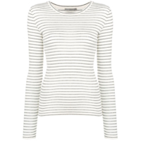 Vince Striped Jersey Top - Branco