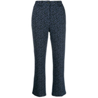 White Sand Cropped Leopard Print Trousers - Azul