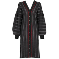 Y/project V-Neck Striped Cardigan Dress - Preto