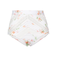 Zimmermann Floral Print High Waist Bikini Bottoms - Branco