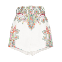 Zimmermann Short Ninety-Six Filigree Cintura Alta - Branco