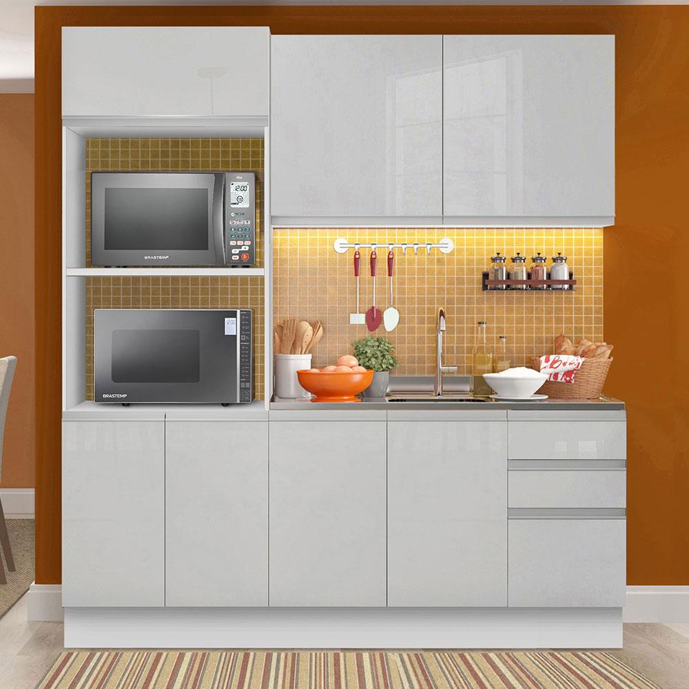 Cozinha Compacta Madesa 100% MDF Acordes 8 Portas Branco Brilho