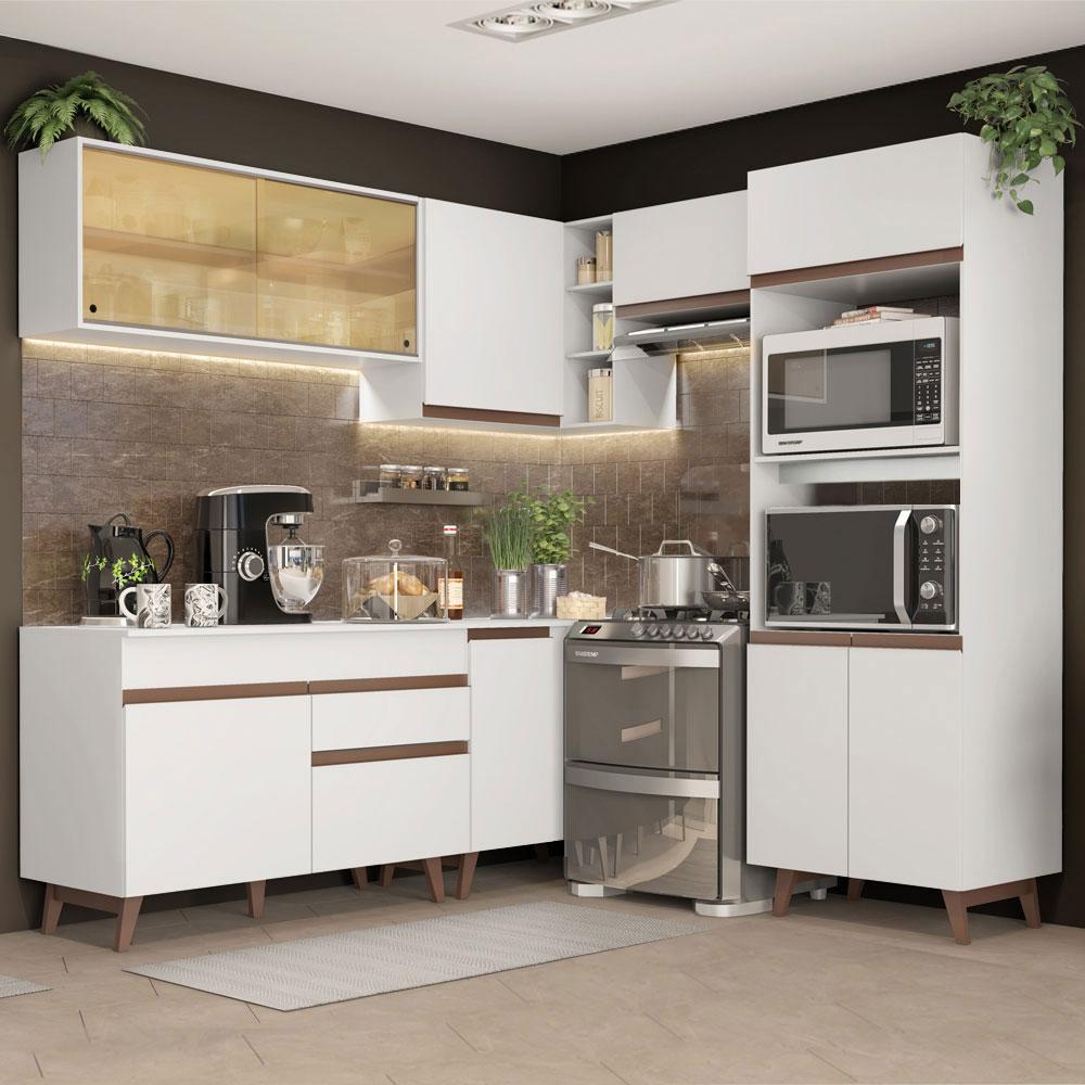 Cozinha Completa de Canto Madesa Reims 402002 com Armário e Balcão - Branco