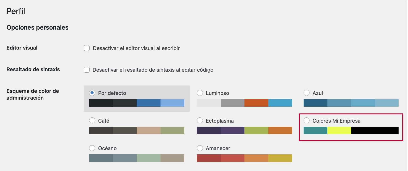 Nuevo esquema de colores