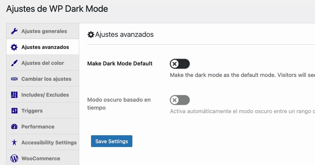 Plugin Dark Mode ajustes avanzados