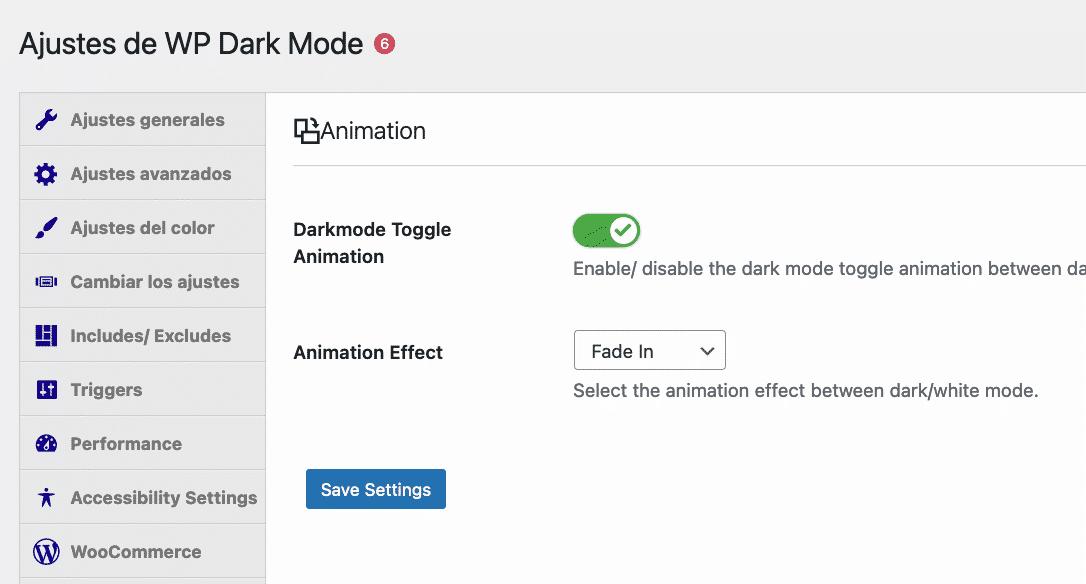 Plugin ajustes de animación modo oscuro
