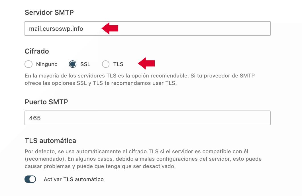 Configuración servidor SMTP y SSL