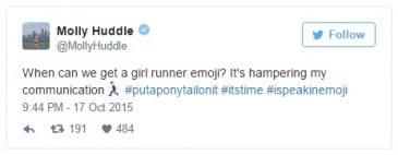 campanha da atleta Molly Huddle para criarem emoji de corredora