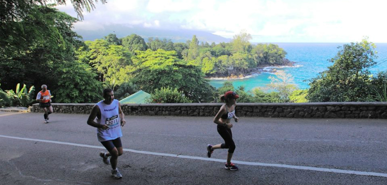 Maratona de Seychelles: belas paisagens e calor