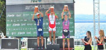 Igor Amorelli e Pamela Oliveira conquistam segundo lugar no Ironman 70.3 Bariloche.
