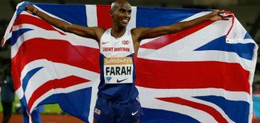 Mo Farah com a bandeira