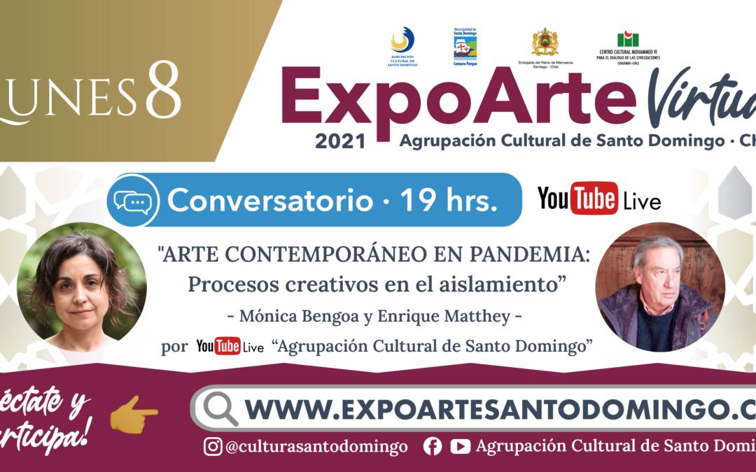 """CONVERSATORIO: """"ARTE CONTEMPORÁNEO EN PANDEMIA: Procesos creativos en el aislamiento"""" / Mónica Bengoa y Enrique Matthey – Lunes 8 de Febrero 19:00Hrs."""