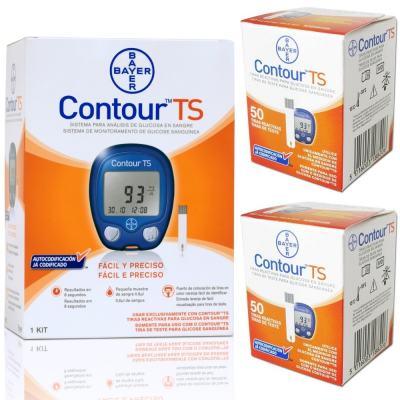 Imagem 1 do produto Contour TS Bayer 50 Tiras - 2 Unidades +  Kit Aparelho Monitor Contour TS 10 Tiras