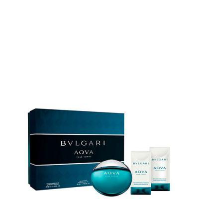 Imagem 1 do produto Aqva Pour Homme BVLGARI - Masculino - Eau de Toilette - Perfume + Gel de Banho + Loção Pós-Banho - Kit