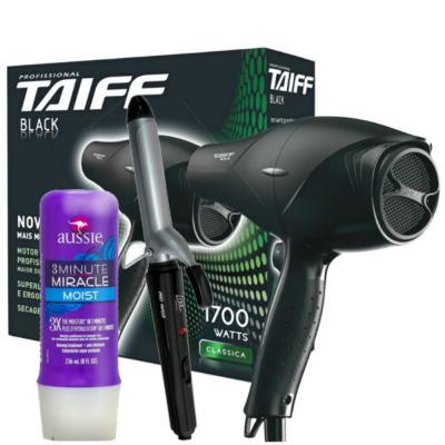 Kit Secador Taiff Black 1700W + Modelador de Cacho Lizz Wave + Aussie Moist Tratamento 3 Minutos