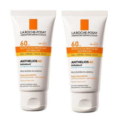 Anthelios AC Gel-Creme FPS60 Toque Seco La Roche Posay - Kit 2 Protetors Solar 50ml - 2x 50g