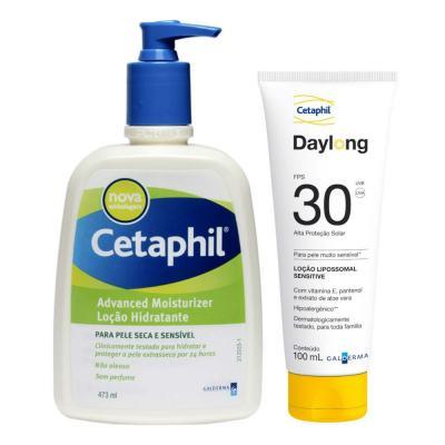 Kit Cetaphil Loção Hidratante Advanced Moisturizer Pump 473ml + Protetor Solar Daylong Lipossomal Sensitive FPS 30 100ml