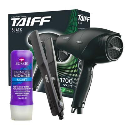 Kit Secador Taiff Black 1700W 110V + Chapinha Taiff Cerâmica 180 Bivolt + Aussie Moist 3 Minutos