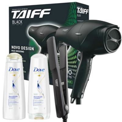 Kit Secador Taiff Black 1700W 110V + Chapinha Taiff Cerâmica Bivolt + Dove Reconst Shampoo/Condic