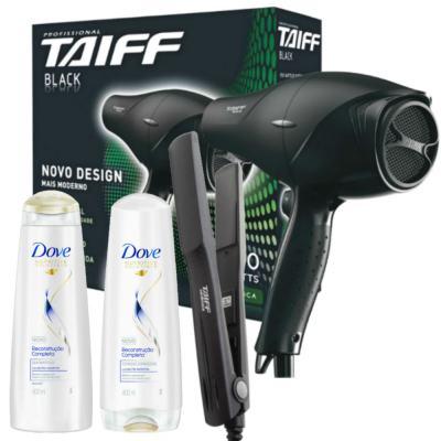 Imagem 1 do produto Kit Secador Taiff Black 1700W 110V + Chapinha Taiff Cerâmica Bivolt + Dove Reconst Shampoo/Condic