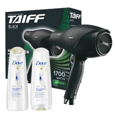 Kit Secador Taiff Black 1700W 110V + Kit Dove Reconstrução Completa Shampoo + Condicionador