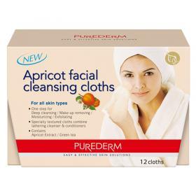 Lenço de Limpeza Purederm - Apricot Facial Cleansing Cloths - 12 Un