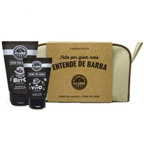 Kit Barbearia Clube Dia dos Pais - Necessaire + Creme Pré-Barbear + Creme Pós-Barba - Kit