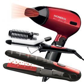 Conjunto Especial Super Bonita Mondial - Prancha + Escova Modeladora + Secador 1200W - Kit