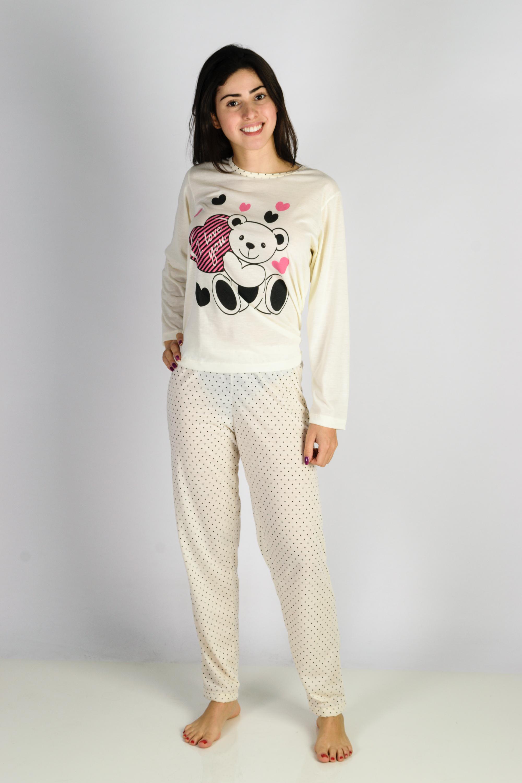 7b0bd883e6c85b Pijama Feminino Longo de Inverno Ursinho com coracao