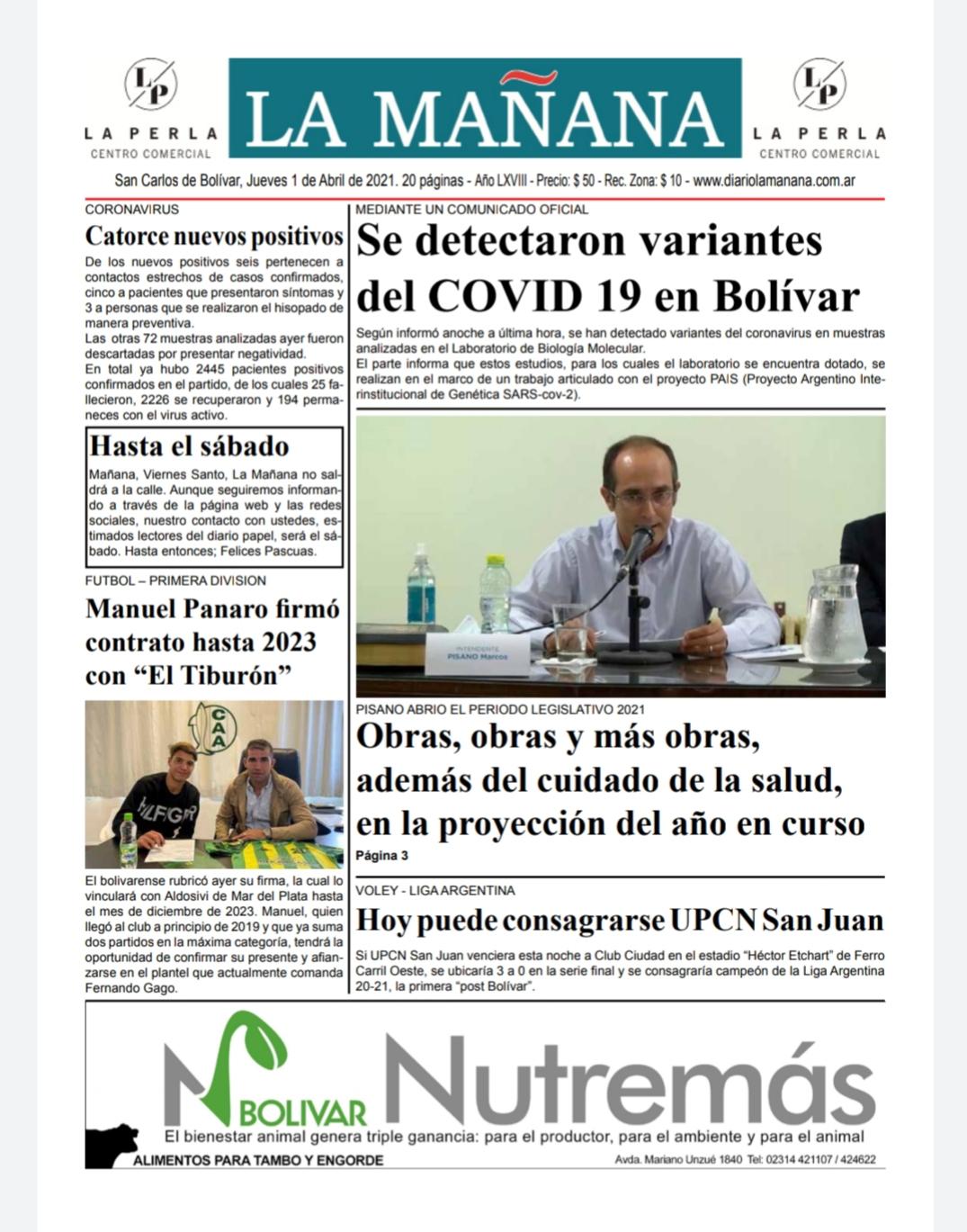 Descargue la edición del 1 de abril/ Titulares de Bolivar