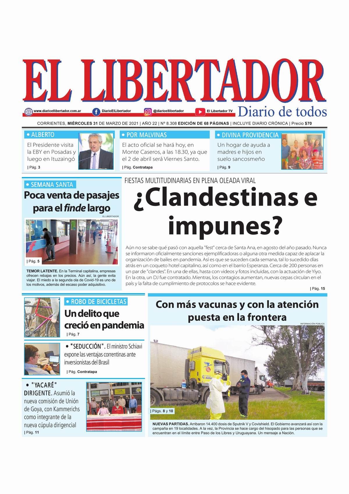Periódico digital, 9 de abril de 2021/ Titulares de Corrientes