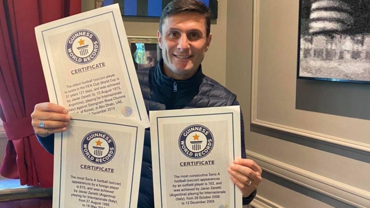 Javier Zanetti obtuvo tres récords Guinness por su carrera en el Inter/Titulares de Deportes