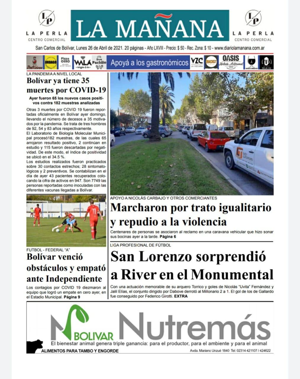 Descarga la edición del 26 de abril/ Titulares de Bolivar