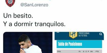 El post en Twitter de San Lorenzo que inició la mala racha/ Titulares de Deportes